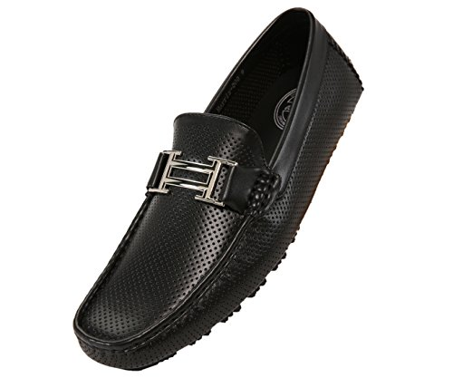 Amali Men's Smooth and Perforated Driving Moccasin Casual Loafer Driving Shoes, Easy Comfortable Slip On Black ()