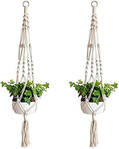 Fablcrew 2 Stück Blumentopf Pflanze Aufhängung Seil Pflanze Makramee Tür Dekoration für Innen und Außen hängend Dekoration Balkon Haus
