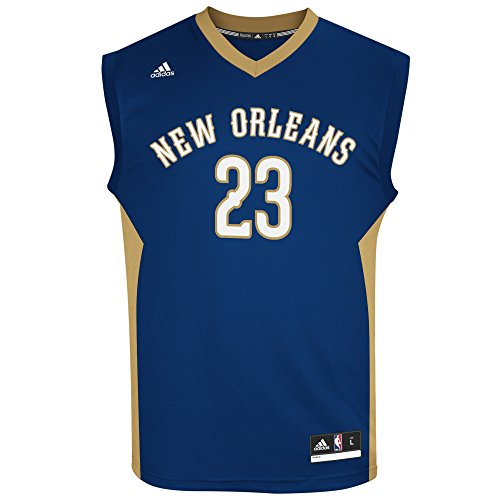fan products of NBA Men's New Orleans Pelicans Anthony Davis Replica Player Road Jersey, X-Large, Navy