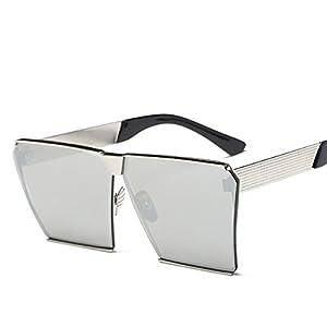 Square Retro Unisex Men Women Sunglasses For Girl boy Classic Lady Man Sunglass (Silver, 66)