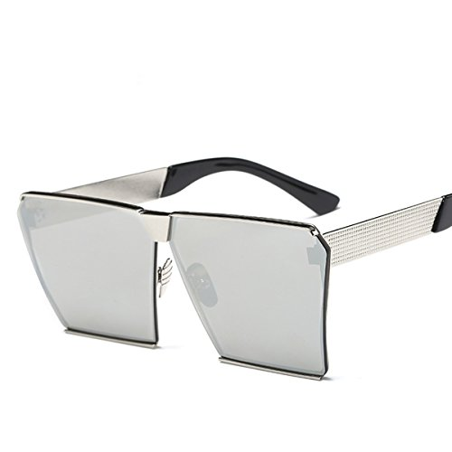 Square Retro Unisex Men Women Sunglasses For Girl boy Classic Lady Man Sunglass (Silver, - Ben Glasses Sun Ray