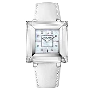 Swarovski Rock'n'Light - Reloj analógico de mujer de cuarzo con correa de piel blanca