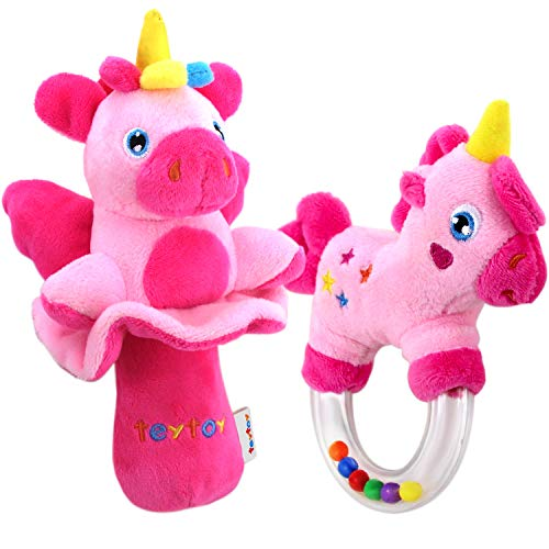 teytoy 2pcs Soft Baby Rattles, Pink Horse and Angel Pig Baby Girl Toy 3 6 9 12 Month Baby Shower ()