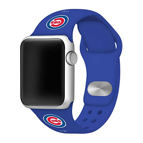(GAME TIME Chicago Cubs Silicone Sport Band Compatible with Apple Watch 38mm/40mm Royal Blue )
