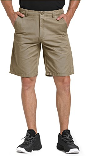 WenVen Men's Quest Flat Front Chino Shorts (Dark Khaki, 36)