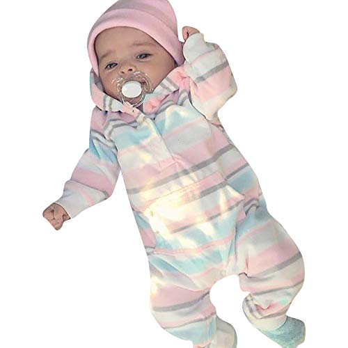 Suma-ma Clearance Stripe Flannel Hoodie Infant Kids Romper Clothes - Soft Non-Fade BPA Free Jumpsuit Outfit 0-24M]()