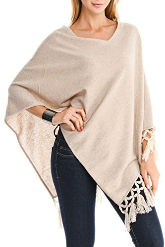 100% Cashmere V-Neck Poncho With Hand Twisted Fringes (BG) by Venezia Cashmere