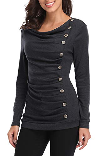 MISS MOLY Women's Cowl Neck Tunic Button Decor Ruched Front Long Sleeves Work Tops T-Shirt