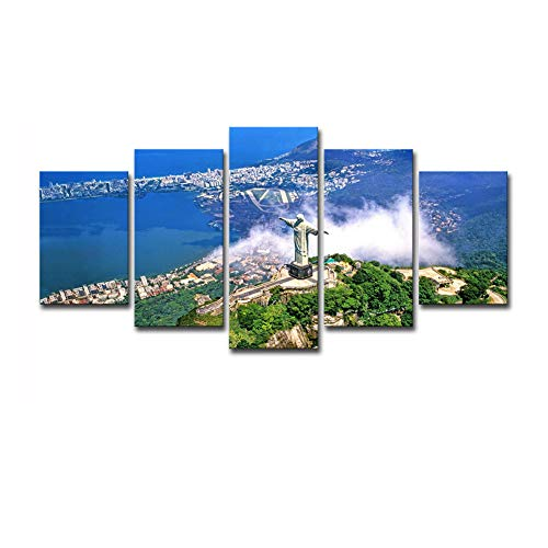 WALKKING WAYS Christ The Redeemer Statue Canvas Wall Art Oil Paintings Giclee Corcovado Mountain in Rio De Janeiro Decals Prints for Home Decorations Living Room Bedroom Office, 5 Panels ()