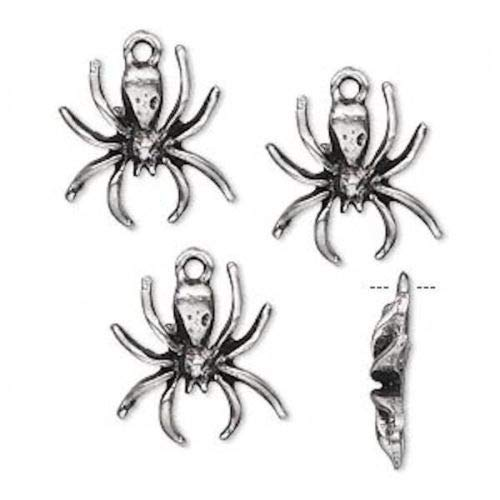 4 Antiqued Silver Pewter Spider Charms ~ 16x15mm - Pewter Spider Charm