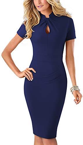 HOMEYEE Women's Short Sleeve Business Church Dress B430 (10, Dark Blue - Solid Color) (Solid Back Zipper)