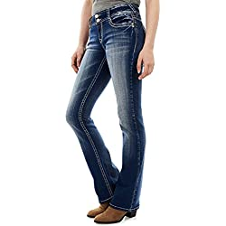 WallFlower Jeans Junior's Instastretch Luscious Curvy Bootcut Jeans, Jenna, 11