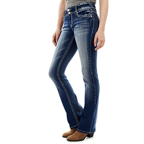 WallFlower Junior's Instastretch Luscious Curvy Bootcut Jeans, Jenna, - Rhinestone Jeans Pants