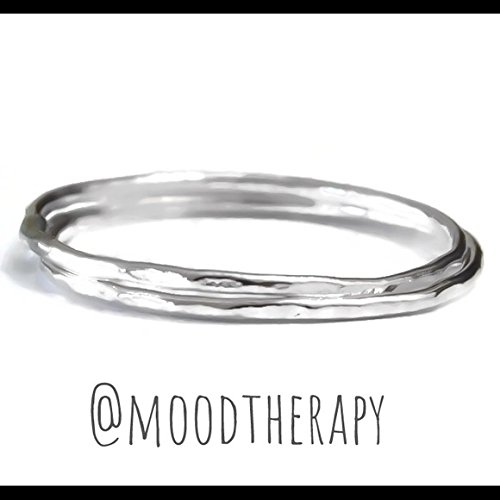 Fine Sterling Silver Stack Hammered/Textured Stacking Ring Set of 2 Size 2-13 Polished Thin Skinny 1MM