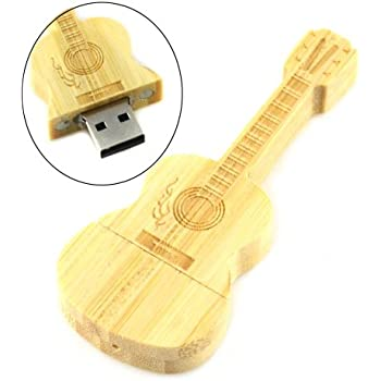 Wooden Guitar/Leaf/Cross Shaped USB Flash Drive Memory Storage (White Guitar 8GB)