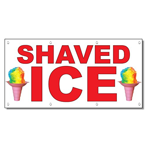 Shaved Ice Red Food Bar Restaurant Food Truck Vinyl Banner Sign With Grommets 2 Ft X 4 ()