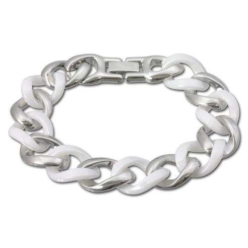 Amello stainless steel chunky curb bracelet, white ceramic elements alternate with stainless steel elements, 7.28 inch, original Amello ESAX10W