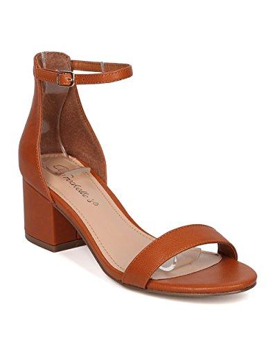 Breckelles Läder Chunky Häl Sandal - Grundläggande, Dressy, Formellt, Mångsidig, Casual - Ankelbandet Sandal - Gg63 Av Solbränna