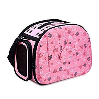 Bloomerang Fashion Plastic Pet Dog Cat Sided Carrier Foldable Travel Tote Shoulder Bag Portable Cage Kennel Pink Messenger Bags color Pink