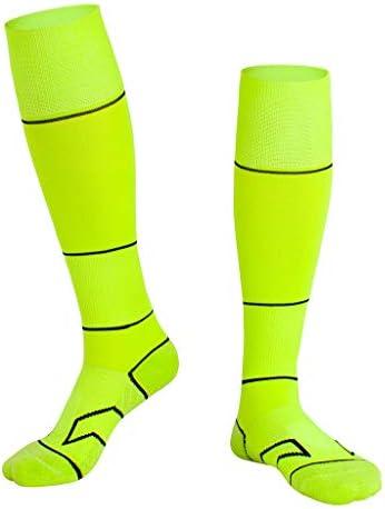 Childrem圧力ソックス、大人キッドサッカー膝太ももチューブソックスタオルボトム圧力ネオンストライプ靴下