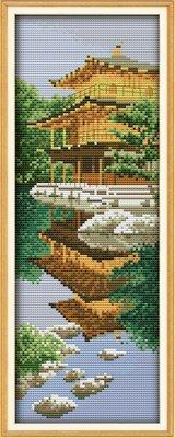 Joy Sunday Cross Stitch kits, Japanese garden,11CT Printed,