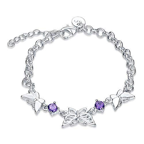 Valentine`s Day Gifts Purple Crystal Butterfly Adjustable Lobster Clasp Link Chain Bracelet Bangle for Women and Girls