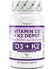 Vit4ever® Vitamin D3 20.000 I.E + Vitamin K2 200 mcg Menaquinon MK7 Depot - 180 Tabletten - 99,5% All-Trans (K2VITAL® von Kappa) - Laborgeprüft - Vegetarisch - Hochdosiert - Premium Qualität