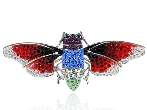 - Alilang Vibrant Cicada Enamel Crystal Rhinestone Wings Purple Red Custom Pin Brooch
