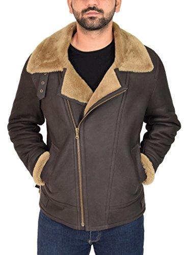 B3 Sheepskin Leather Bomber Jacket (House of Leather Mens Real Sheepskin Flying Leather Jacket Brown/Ginger Aviator B3 Bomber Cross Zip Shearling Coat Blen (X-Large))