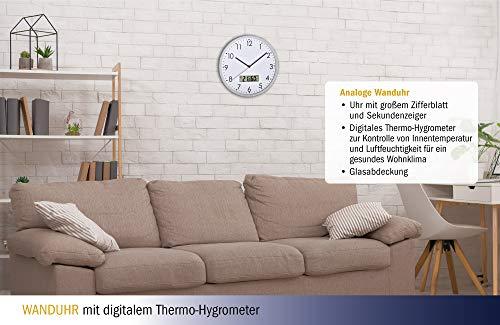 0831ba5ee00d6e TFA Dostmann 60.3048.02 - Orologio analogico da parete con termometro  digitale e igrometro, in vetro: Amazon.it: Casa e cucina