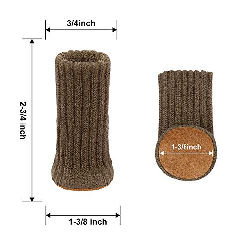 AIRUJIA Chair Leg Socks, 32PCS Knitted Elastic Furniture Socks Chair Leg Floor Protectors, Double Thickness, Fit Square Round Chair Feet with Diameter from 3/4 inch to 1-1/2 inch, Coffee
