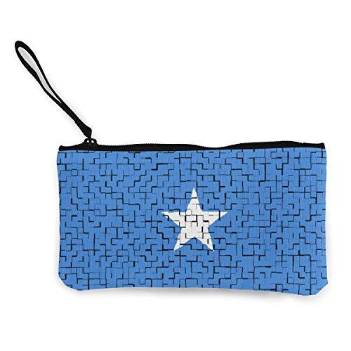 """Coin Purse Somalia Flag Puzzle Cute Travel Makeup Pencil Pen Case With Handle Cash Canvas Zipper Pouch 4.7""""X8.7"""""""