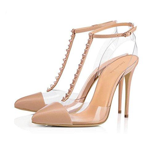 XDGG Femmes Transparent Rivet À Talons Hauts PVC Sandales Grande Taille Rivet Boucle En Cuir Couture Pointu Toe Chaussures Seules 40-46,Apricot,45