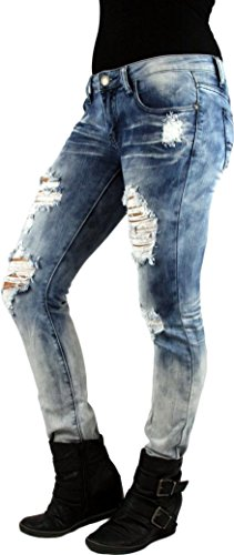MACHINE JEANS Acid Wash Destroyed Distressed Ripped Ombre Skinny Light Wash Denim Jeans - Waist 5
