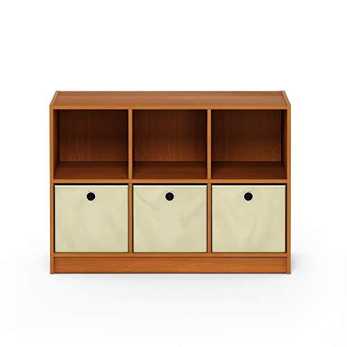 Furinno Basic 3x2 Bookcase Storage w/Bins, Light Cherry/Ivory (Bookshelf Stand Tv)