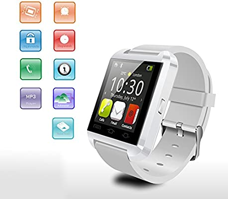 Flylinktech® U8 Moda 3.0 SmartWatch Bluetooth pantalla táctil reloj Relojes para Android Samsung Galaxy HTC(Blanco)