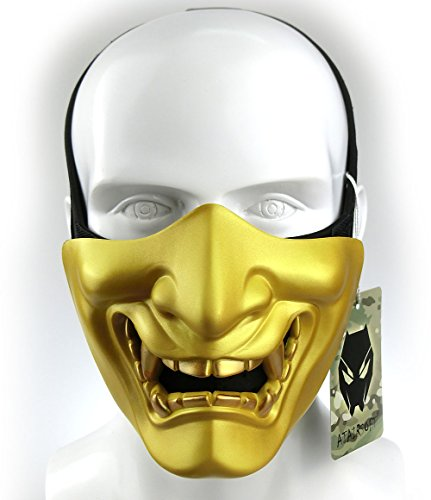 ATAIRSOFT Halloween Costume Cosplay BB Gun Evil Demon Monster Kabuki Samurai Hannya Oni Half Cover Airsoft and Prop Mask (Gold)