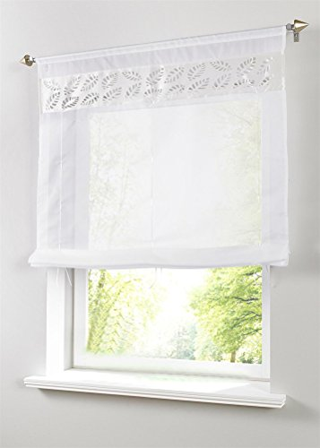 LivebyCare 1pcs Leaves Hollow Out Roman Shades Liftable Tap Top Rod Pocket Sheer Balcony Window Curtain Voile Drape Drapery Panels for Play Room Decor Decorative