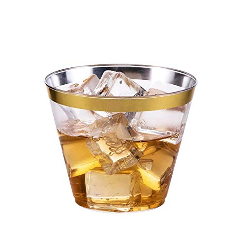 FLYPARTY 100 Pack Gold Plastic Cups, 9 oz Hard Clear Disposable Party Cups with Gold Rim Elegant Old Fashioned Tumblers for Baby Shower, Party,Wedding Occasions