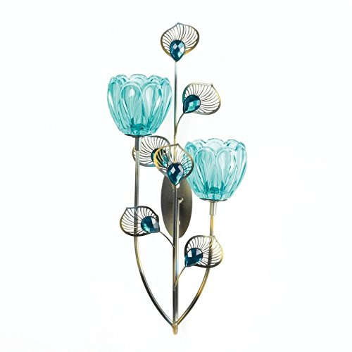 Gallery of Light Sconce, Modern Mounted Decorative Rustic Peacock Blossom Duo Cup Wall Sconces