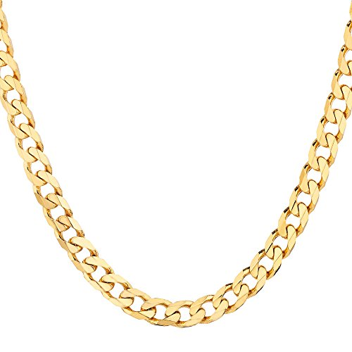 18K Solid Yellow Gold Heavyweight 4.5mm Cuban Curb Link Chain Necklace- Italian Design- 24''-18 Karat by PORI JEWELERS