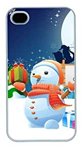 iphone 4 case poetic covers Snowman Merry Christmas PC White for Apple iPhone 4/4S WANGJING JINDA