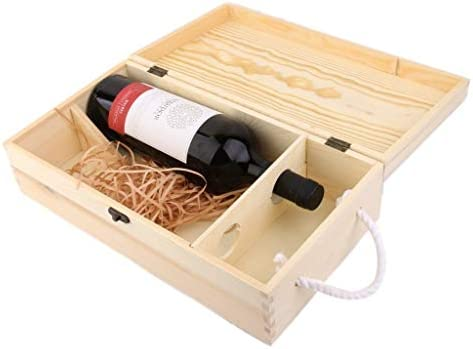 Zclleiyi Caja De Madera De Vino Liso con Tapa Deslizante Y Cuerda |35 X 19 X 10 Cm |Soporte De Madera For Botellas For Decoupage, Almacenamiento, Ornament: Amazon.es: Hogar
