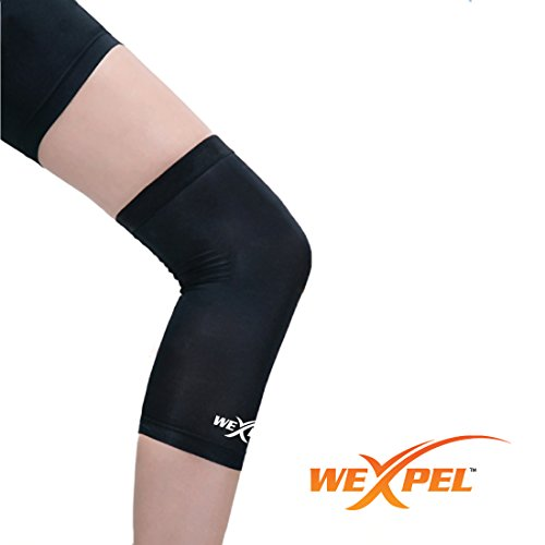 Wexpel™ Copper Infused Knee Compression Sleeve – Relieve and Heal Stiff, Strained, Sore and Aching Knee Joints - Large