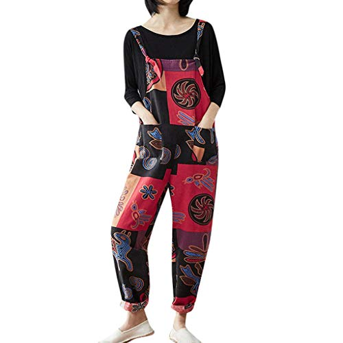 Willow S Women Casual Bohemian Print Jumpsuit Pockets Strap Harem Siamese Jumpsuits Red