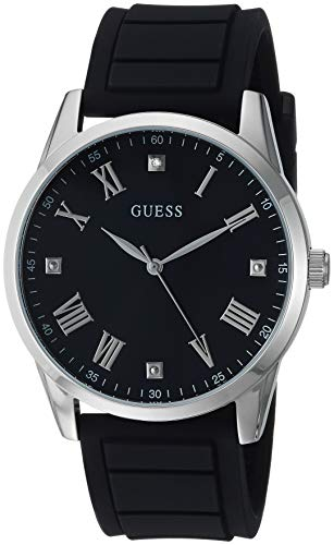GUESS  Comfortable Black Stain Resistant Silicone Watch with Black Genuine Diamond Dial + Silver-Tone Roman Numerals. Color: Black (Model U1221G1) (Guess Black Diamond Accent Watch)