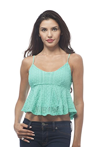 Hollywood Star Fashion Women's Baby Doll cami Crop Top with Adjustable Straps (Medium, ()
