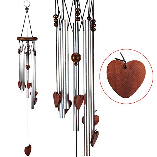 xxschy Loving Heart Wind Chimes,24 Inches Pure Hand-made Metal Musical Wind Bells with 5 Silver Aluminum Tubes, Mobile Wind Catcher Romantic Wind-bell for Home, Party,Festival Decor, Garden ()