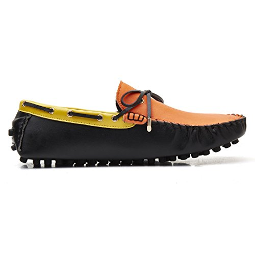 Orange Shoes Fashion Men's Driving Moccasins SUNROLAN Loafers Dress PU Leather Casual Yellow zxaxpwvq