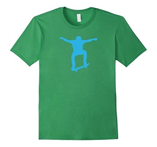 Mens Skateboard Jump Drawing-Cool Skate Park-Ariel Tricks T Shirt Small Grass